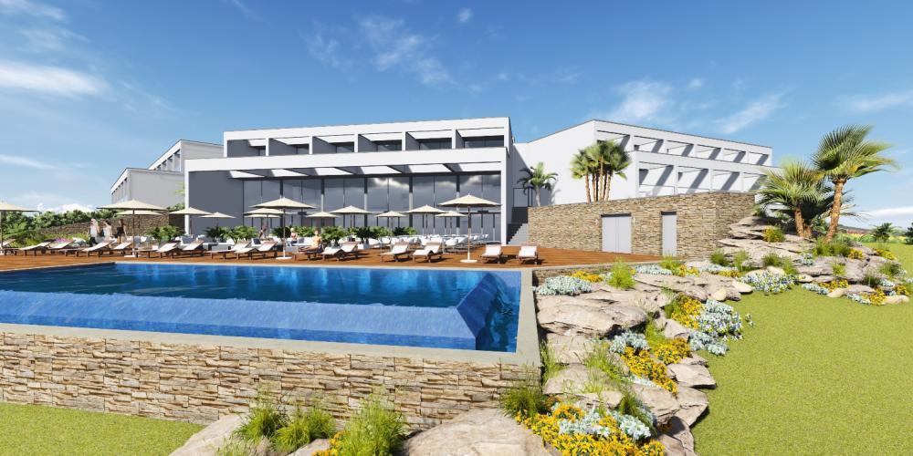 Arquitectura de hotel Ferragudo Lagoa Algarve Proyecto 3D