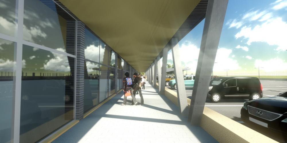 羅安達市中心的商業建築保護建設工作的3D非洲